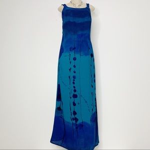 CAROLE LITTLE Blue & Green Maxi Sundress Size 6